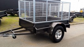 6x4 Box Trailer with 3 ft Cage and custom wheels