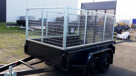 8x5 Tandem Trailer with Custom 3ft Cage and Rear Drop Down Door
