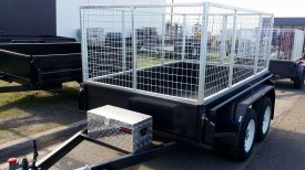 8x5 Tandem Trailer with 3ft Cage and Tool Box