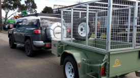 6x4 Box Trailer with custom Cage and drop down legs & Tool Box