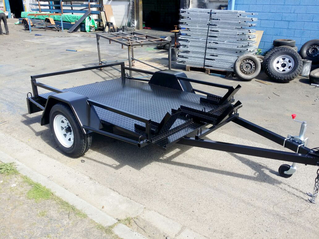 Custom 6x4 bike trailer with full Checker plate floor