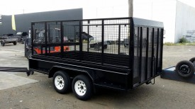 10x5 Tandem Trailer with Custom Cage and Drop down Rear Gate