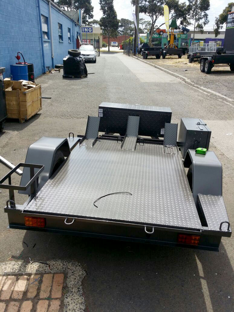 Custom 6x4 bike trailer with full Checker plate floor & Tool Box