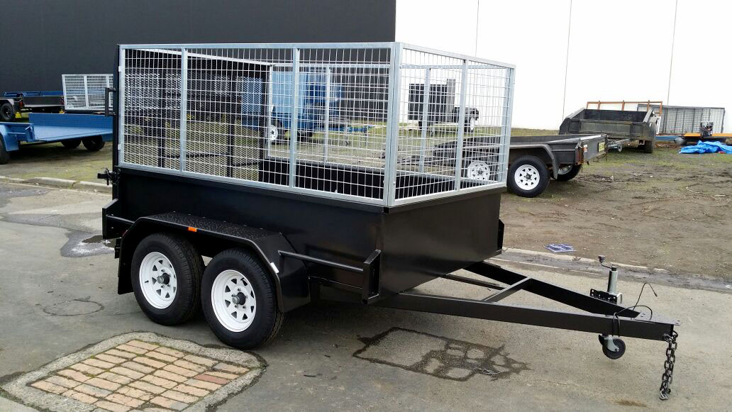 8x5 Tandem Trailer with Custom Cage and Drop down Rear Gate
